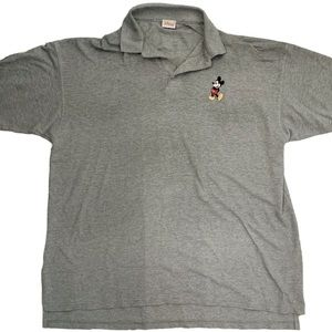 Vintage Disney Mickey Embroidered Gray Polo